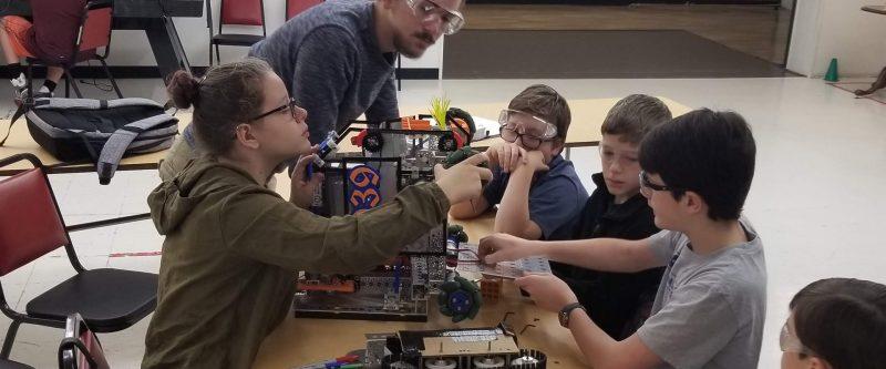 Team meeting, working on robot